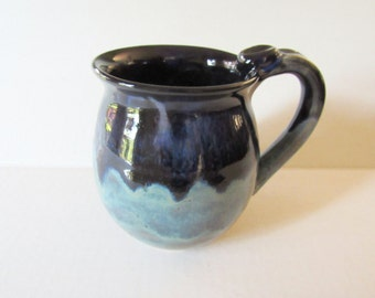 Deep Black, Vivid Blue and Turquoise Mug, 16 oz, Ready to Ship, Coffee Cup