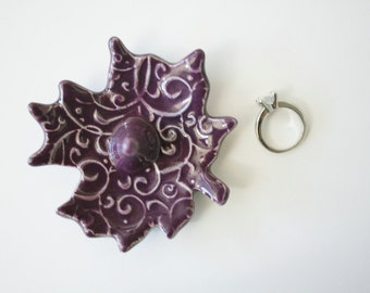 Deep Purple Ring Holder, Ring Dish, Leaf Shape ring organizer