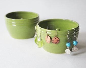 One Earring Ring Bowl,  Earring Organizer, Earring Detangler, Handmade Pottery for Rings, Apple Green, Chartreuse Green