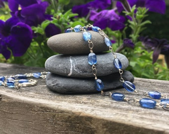 Kyanite Gemstone Sterling Silver Necklace 20 1/2 inches long