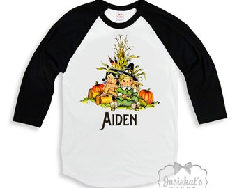 Thanksgiving Shirt - Boys Turkey Shirt - Black White Baseball - Thanksgiving Retro TShirt - School Party Personalize - Thanksgiving Toddler