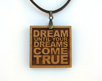 Aerosmith Music Lyric Pendant - Quote Necklace - Dream Until Your Dreams Come True - Custom Lyrics Available
