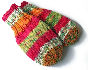 Baby Mittens Without Thumbs. Thumbless Hand Knit Baby Mitts. Infant Boy or Girl Wool Cordless Hand Warmers. No Thumb Stringless Mittens