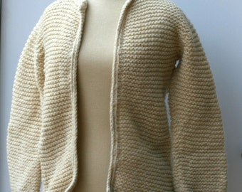 Vintage Wool Sweater, handmade knit sweater, woman rustic outdoor Hippie Bohemian winter pullover, warm thick jacket, natural wool sweater
