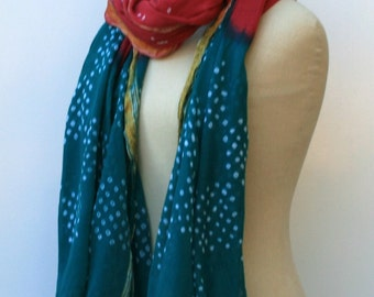 Indian print scarf, Cotton Ethnic Vintage Scarf, Dupatta scarf, cover up scarf, large shoulder shawl, stole scarf, beach coverup, stole vtg