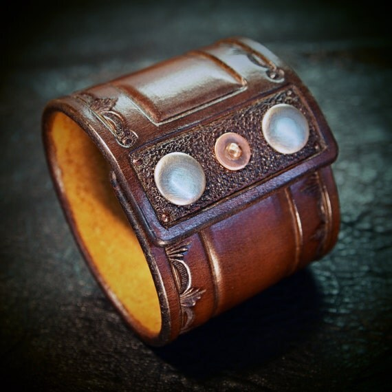 Brown Leather cuff wristband Saddle Brown Cowboy Old West style Stamped and hand tooled for YOU in NYC by Freddie Matara!