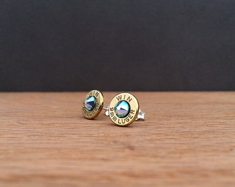 Winchester 9mm luger bullet earrings | Aquamarine Swarovski crystals | sterling silver studs