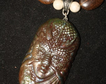 Dragon Goddess & Boulder Opal Fire Priestess Ritual Necklace - Raku  - Pagan, Wicca, Witchcraft