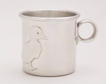 beehive baby cup - duck, heirloom baby shower gift, baby girl, baby boy