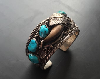 Stunning old navajo bear claw and turquoise ornate dead pawn sterling silver native navajo sterling cuff bracelet