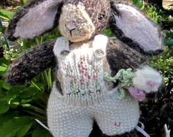 Knit Mohair Stuffed Bunny Doll; Hand Knit Heirloom Collectible Rabbit, One of a Kind/Blossom the Bunny