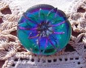 Emerald Fuchsia Fiery Flower Czech Glass Button