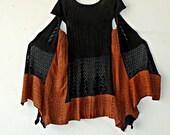 Size M-PLUS SIZE Textured Knit Black & Rust Tunic gypsy clothing boho chic wearable art boho handmade hippie boho clothing FREE U.S.shipping