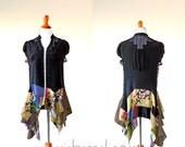 Size M - XL Montmartre Black Silk Patchwork Tunic gypsy clothing boho chic hippie handmade duster wearable art lagenlook