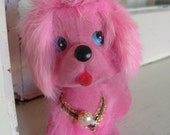 Vintage Pink Poodle Bobble Head Furry Pooch Dog Puppy