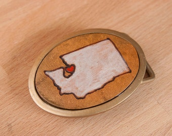 Personalized Buckle - Map Belt Buckle with State and Heart - Customized for you - Hometown Buckle