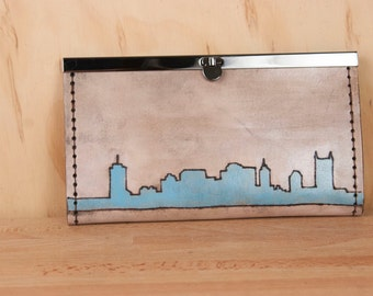 Personalized Womens Leather Wallet - Custom Skyline Clutch Wallet in Light Turquoise, White and Antique Black