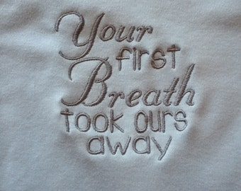 Your First Breath Took Ours Away Blue Layette Gown
