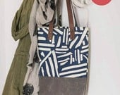 SALE-Navy Marks Waxed Canvas, Screen Printed Tote bag-Ready to Ship