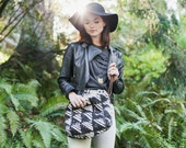 Sale-Fault Canvas Crossbody in Natural & Black, Screen Print, Triangle, Stripe, Brush Stroke, boho Day bag