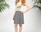 Laguna dress - sleeveless dress with floral detail and striped skirt
