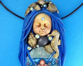 Clay Gemstone Goddess Necklace, Mermaid Ocean Goddess Jewelry, Moonstone Goddess Pendant, Nautical Goddess Necklace, Nautical Mermaid, Gifts