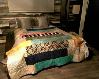 Custom Patchwork Throw Quilt. Designer Fabric. Professionally Quilted.