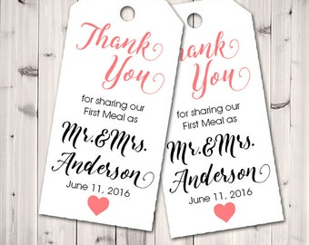 Thank You for Sharing our First Meal Tags, Wedding Favor, Wedding, Seat Placement  - Set of 24