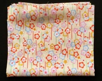 Japanese Fabric - Cotton Fabric -  1 Yard - Plum Blossom Fabric - Flower Fabric - 110 cm x 100 cm (F79-P2) Pale Yellow