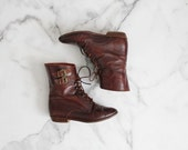 double buckle boots / size 5 boots / brown leather ankle boots