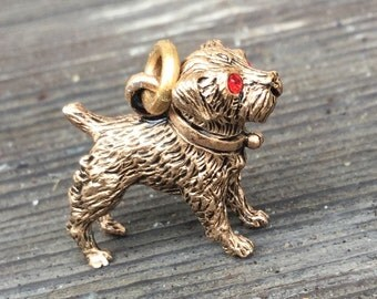 Dog charm w red  rhinestone eyes and collar! Vintage Tiny gold 3D  NOS Dead stock 1970s pendant e37 zz