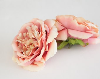 Vintage Inspired Rose In Antique Pink and Cream - Silk Artificial Flowers - ITEM 095