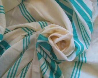 3 Yards Vintage Striped Teal & White Fabric