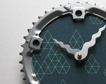 Bicycle Gear Clock - Geometric Diamond  |  Bike Clock  | Wall Clock | Recycled Bike Parts Clock