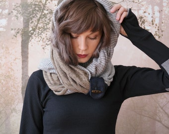 TAUPE and GREY infinity scarf - reversible cowl, multiple styling options. Plaid fleece and grey sweater knit, denim and button accent.