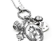 Silver Alice in Wonderland Necklace, Alice Pendant, Alice Charm Necklace, Alice Hand Stamped Charm, Wonderland Necklace