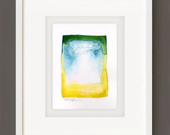 Finding Serenity No. 3 - Original Minimalist Abstract Watercolor Painting by Kathy Morton Stanion EBSQ