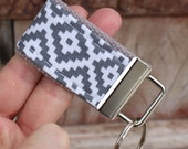 READY To Ship-MINI-MINI Keychain-Aztec White on Gray