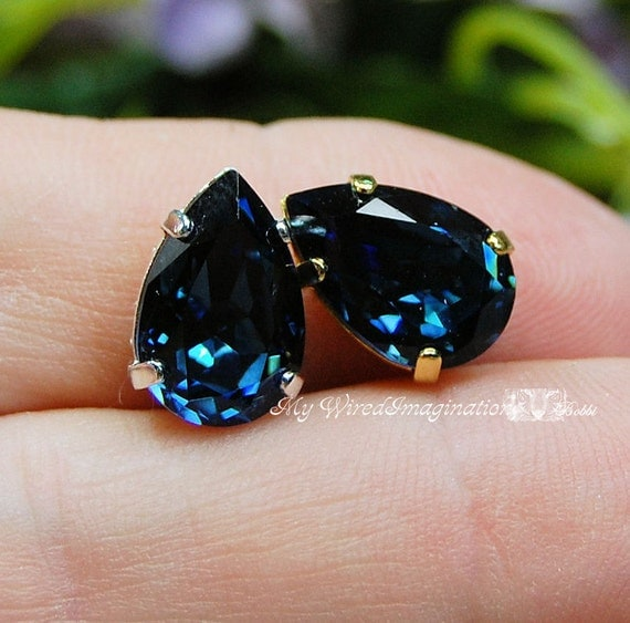 Montana Sapphire Blue Swarovski Crystal 13 x 8.5mm Pear 4320 With Prong Setting Craft Supplies Jewelry Making September Birthstone