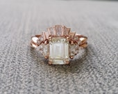 """Antique Diamond Wedding Band Tapered Baguette cut Art Deco Old Hollywood Classic Rose Gold timeless PenelliBelle Exclusive """"The Margo"""""""