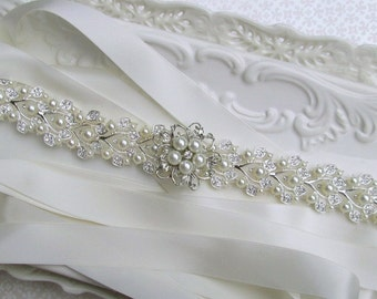 All the way around, wedding Belt, pearl bridal sash,  crystal  pearl, wedding dress belt,  Long Bridal  sash belt, Bridal Belt, wedding sash