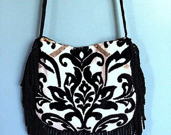 Black And White Velvet Boho Bag