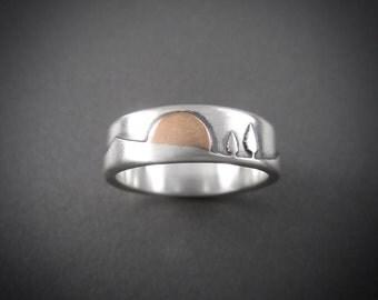 Handmade Rose Gold Sunset Mountain Pines Sterling Silver Wedding Ring
