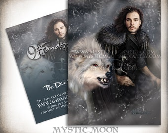 The Dire Snow... ACEO / ATC... Jon Snow Inspired Collectors Card.. Inspired by The Game of Thrones... with his dire wolf Ghost