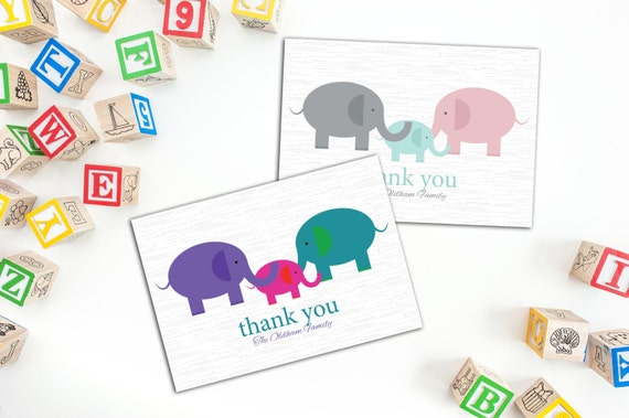 Elephant Family/Baby Thank You Folded Notecard, Baby Announcement Cards, Family Thank You Cards, Note Cards, Set of ten Cards, Announcements