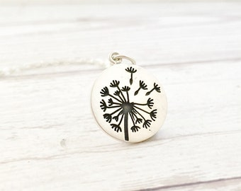 Dandelion necklace - dandelion jewelry - sterling silver necklace, sterling silver dandelion, wedding gift, back to school gift for daughter