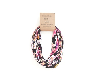 Infinity Scarf - Jersey - Pink & Yellow Floral on Black - Knit Fabric - Stretch - Scarf