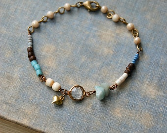 Boho beaded heart charm bracelet/ graduation bracelet/romantic bracelet/ boho jewelry. Tiedupmemories