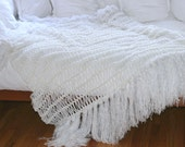 All Solid Pure White Fringe Home Accent Throw Blanket, Interior Design Afghan Lap Warmer
