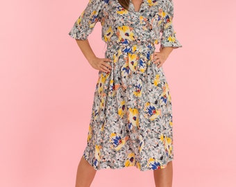 Vintage Gray And Yellow Floral Belted Dress (Size Large)